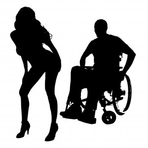 Vector silhouette of a man with a sexy woman.